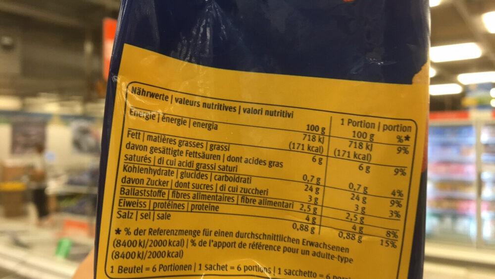Croquette de pommes de terre au four - Informations nutritionnelles - fr