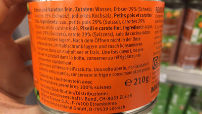 Petits pois et carottes - Ingredients