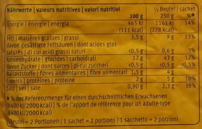 Original Rösti - Pommes de Terre prêtes à rôtir - Informations nutritionnelles - fr