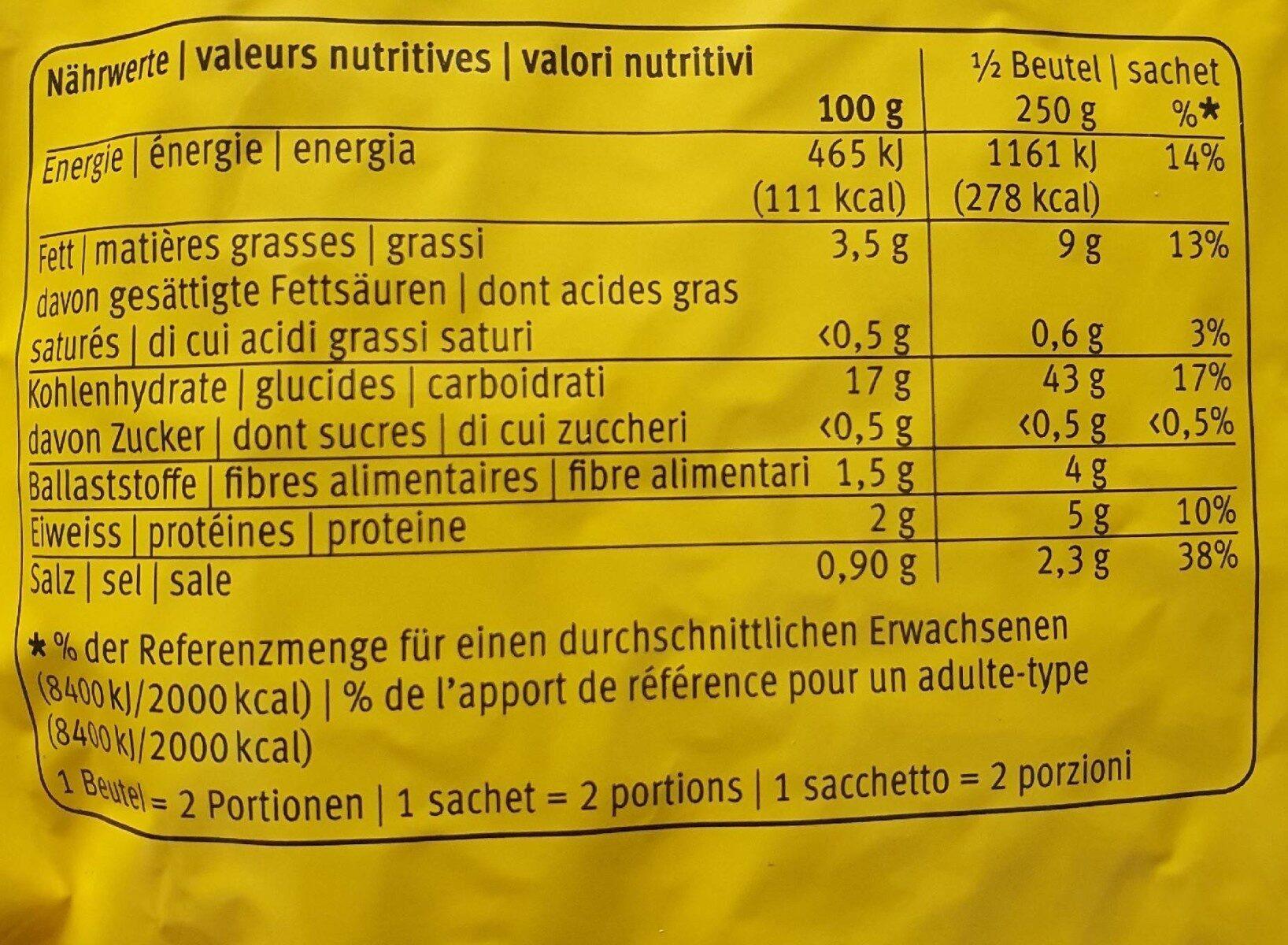 Original Röstis - Valori nutrizionali - fr