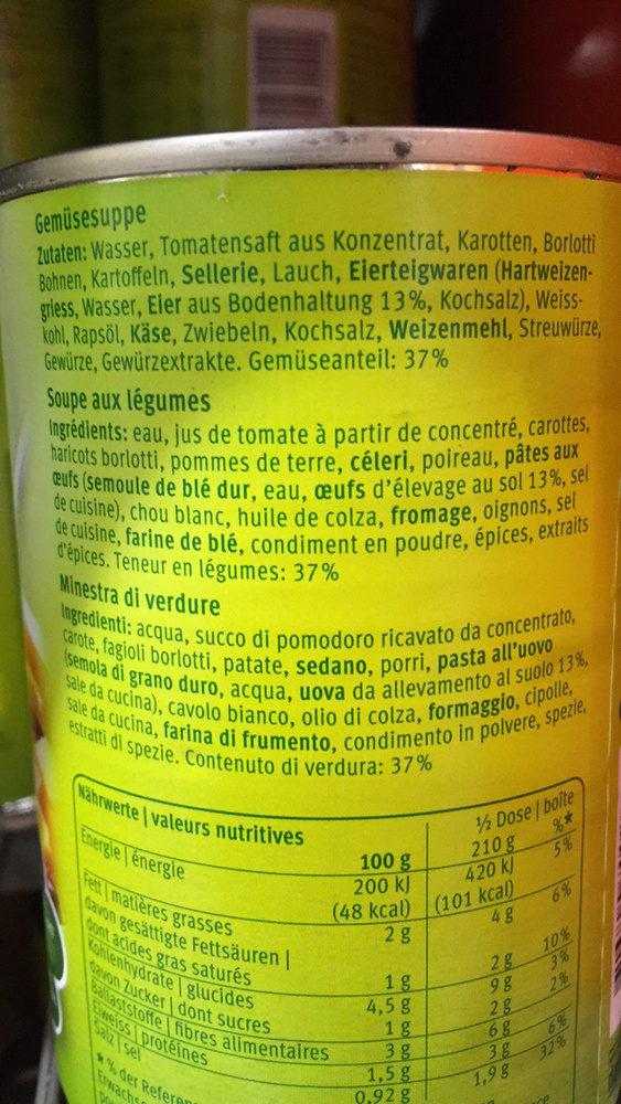 Minestrone Bon Chef - Ingrediënten - fr