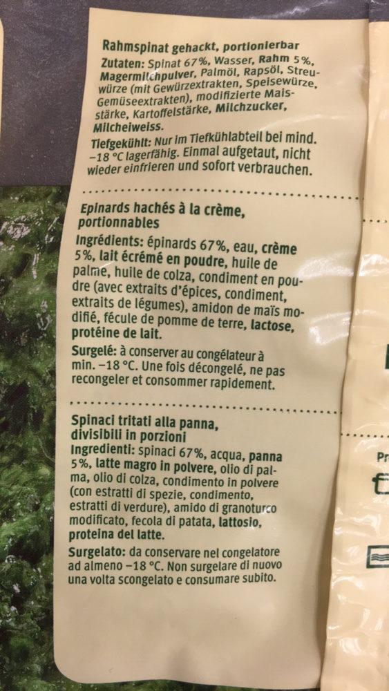 Épinards à la crème - Ingrediënten - fr