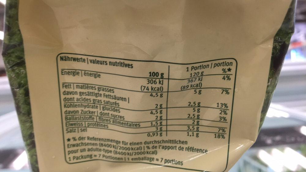 Épinards à la crème - Voedingswaarden - fr