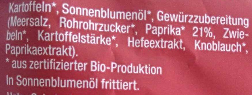 Kartoffelchips Paprika - Inhaltsstoffe