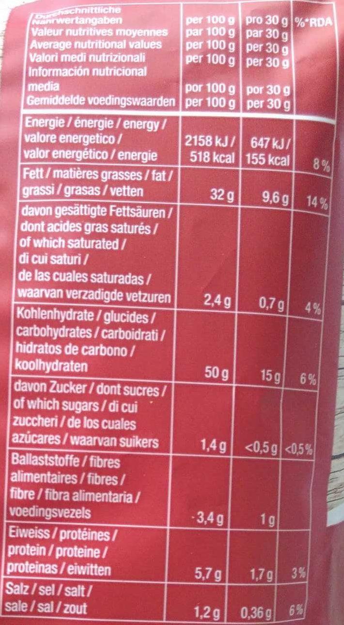 Kartoffelchips Paprika - Nährwertangaben
