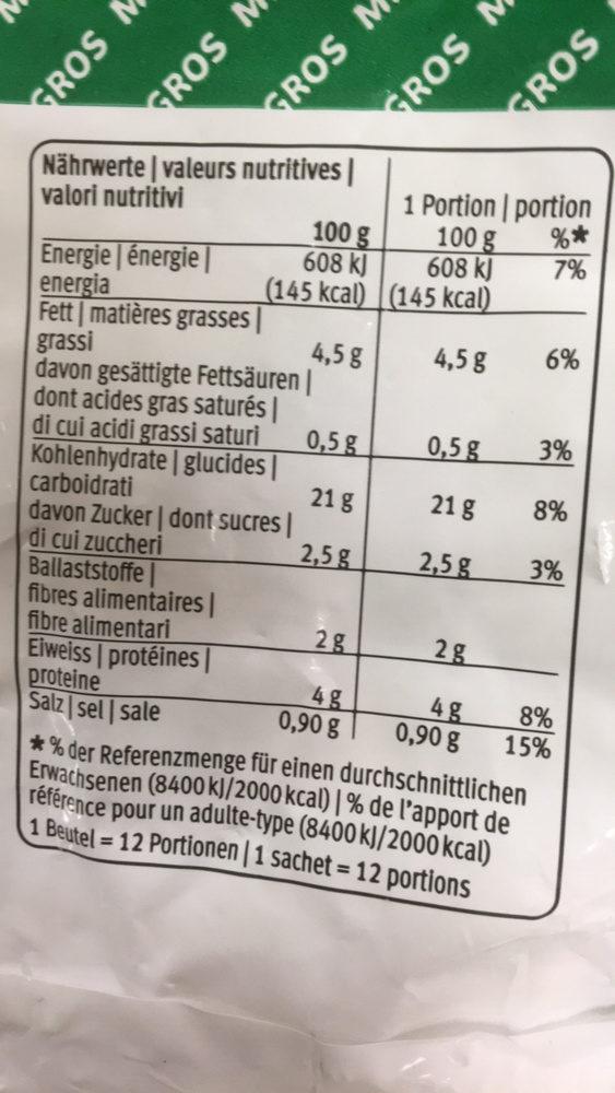 Croquettes de pommes de terre - Informations nutritionnelles - fr