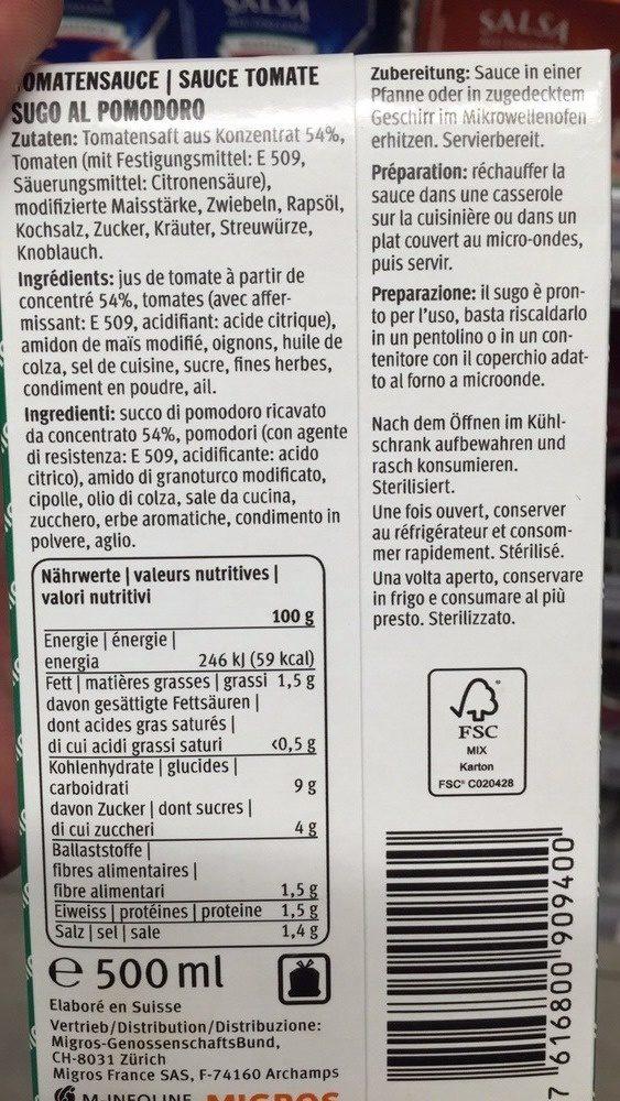 Sauce tomate - Inhaltsstoffe - fr
