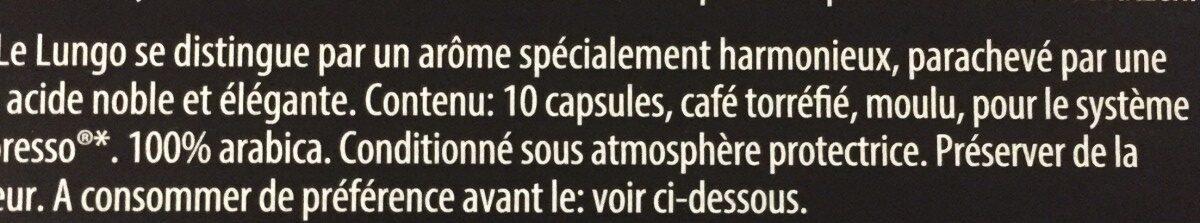 Lungo - Ingrédients - fr