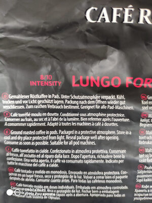 Lungo Forte/Intense - Nutrition facts - fr