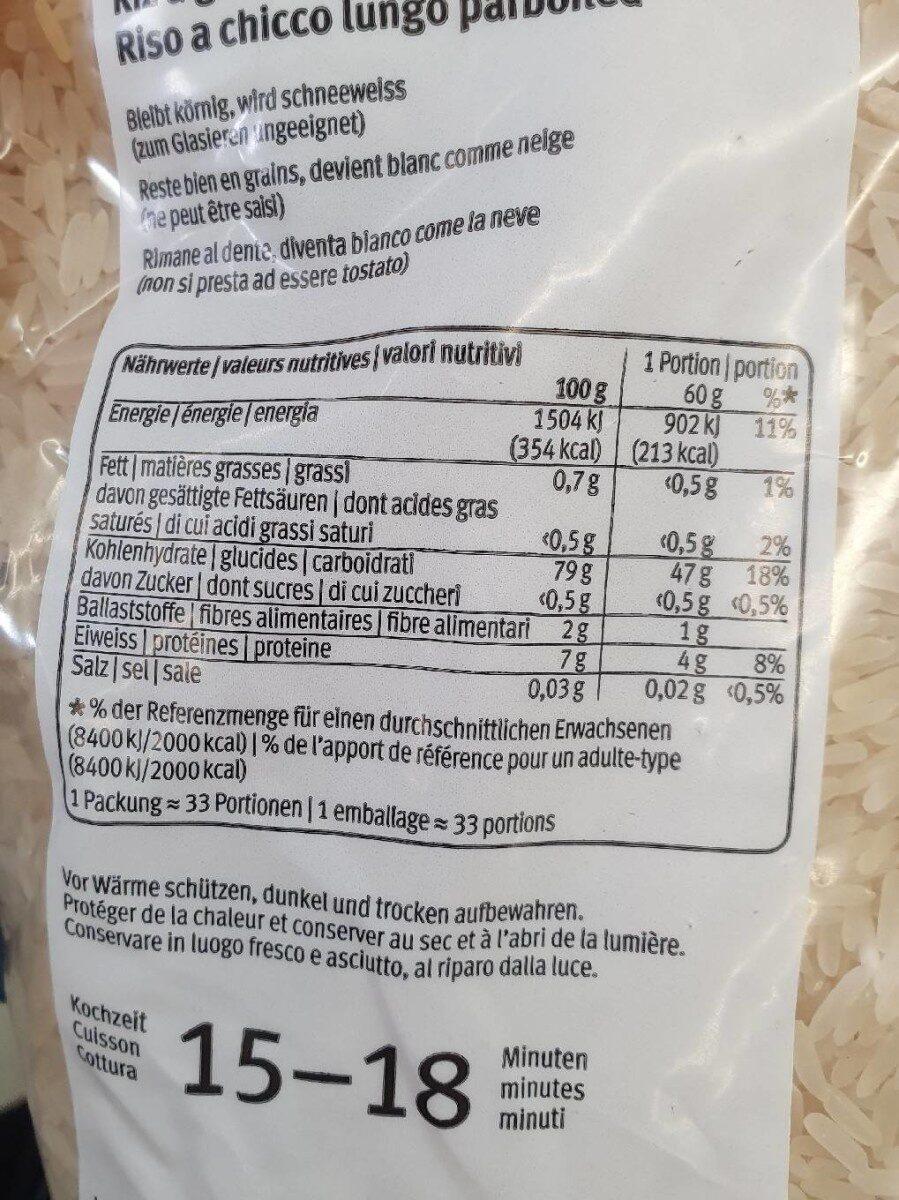 Riz à grain long Parboiled - Valori nutrizionali - fr