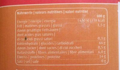 Farine bise - Valori nutrizionali - fr