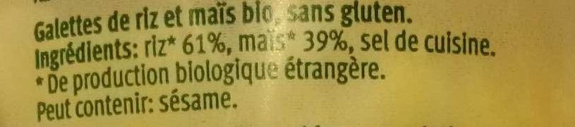 Galette de riz et maïs - Ingrédients - fr