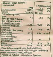 Noisettes d'avoine - 栄養成分表 - fr