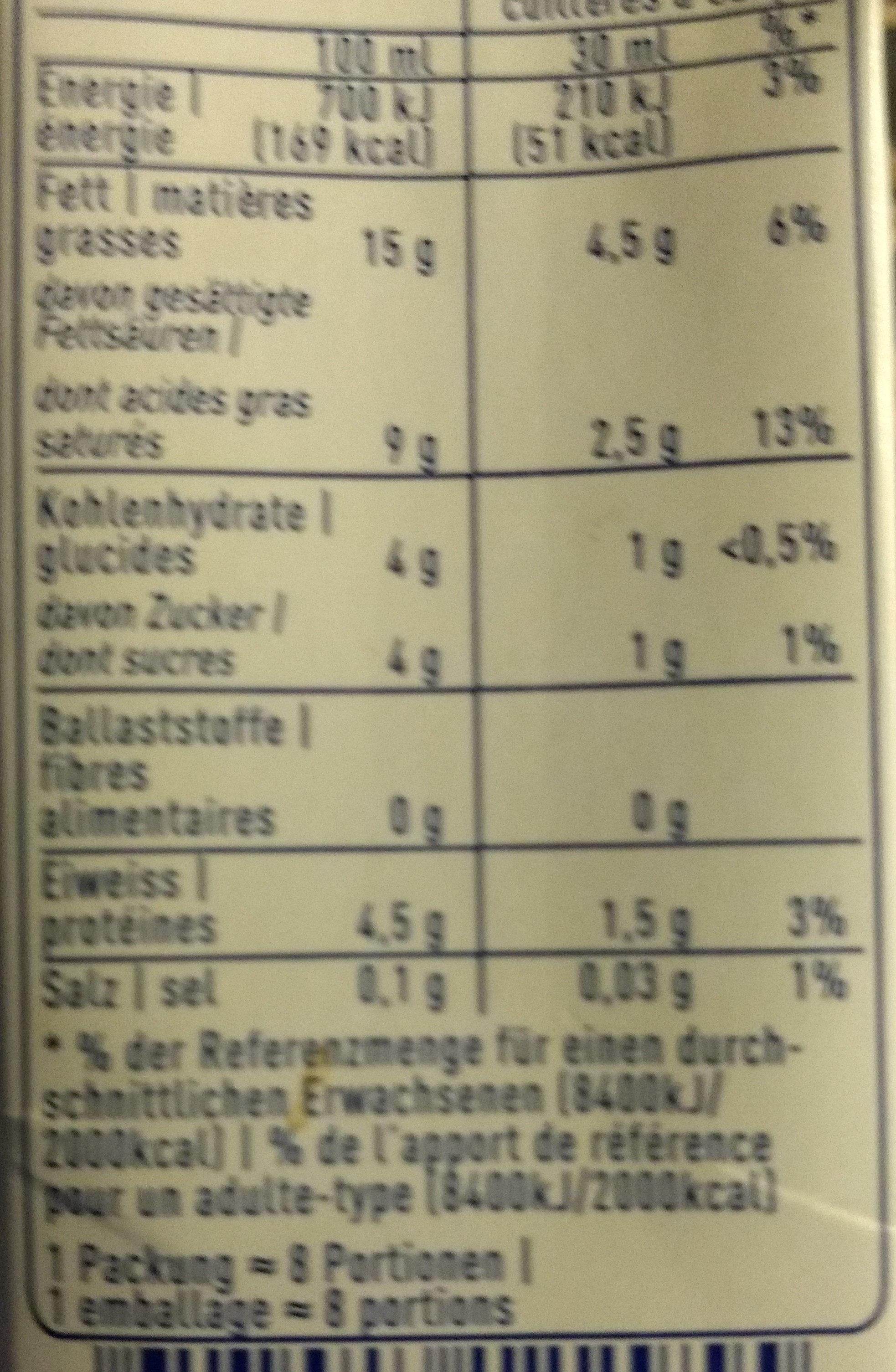 Qimiq Verdickter Halbrahm Uht - Nutrition facts - fr