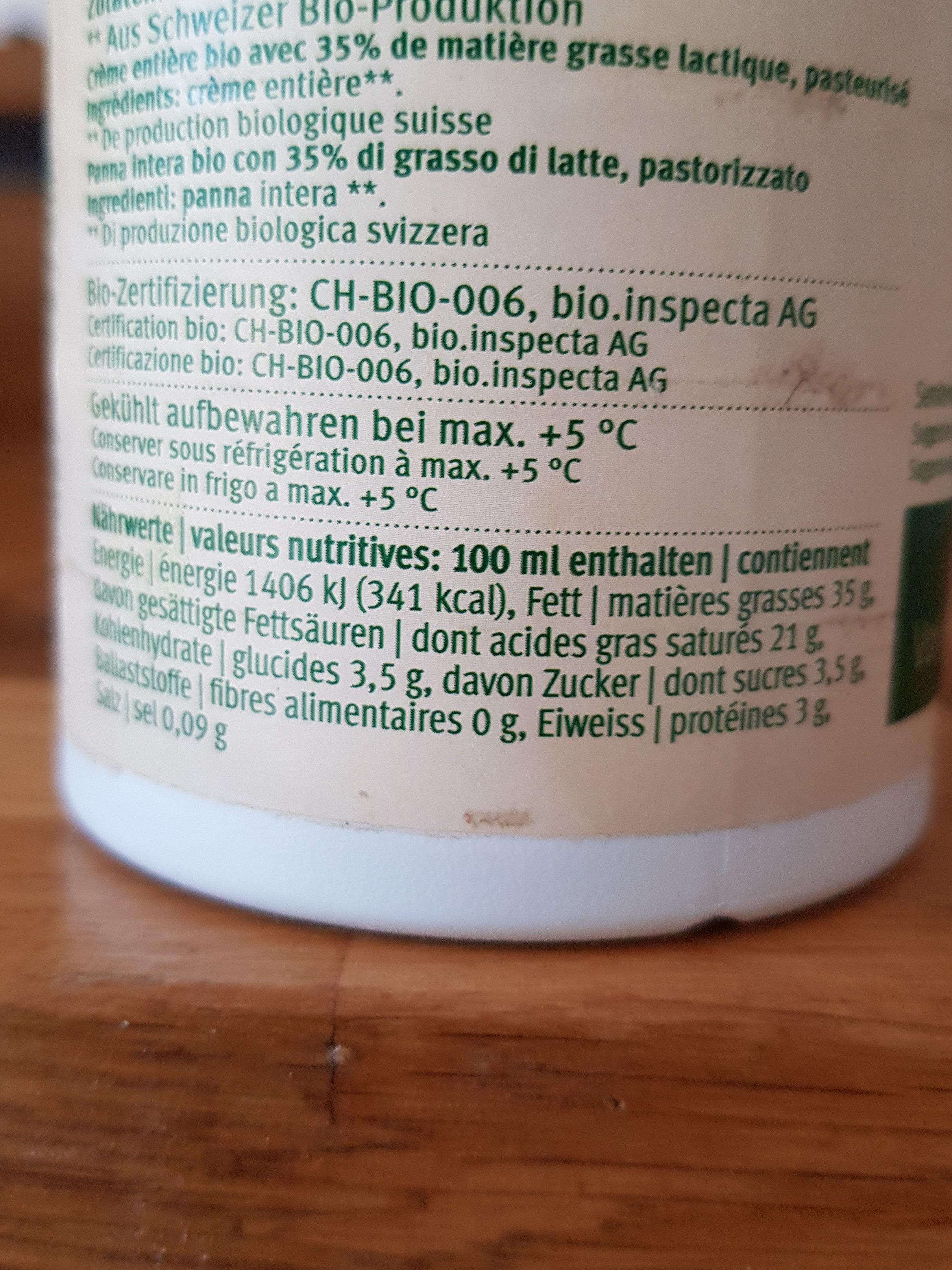 Vollrahm PAST - Informations nutritionnelles