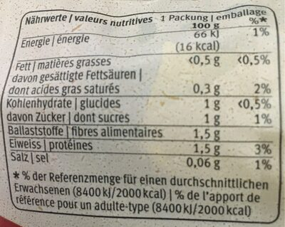 Misch Salat - Informação nutricional - fr
