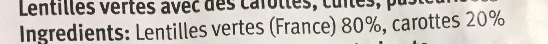 Lentilles vertes carottes - Ingredienti - fr