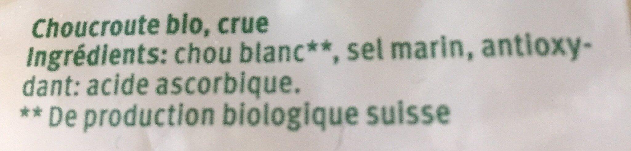 Choucroute crue - Ingrédients