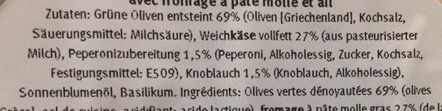 Olives vertes  dénoyautées avec fromage à pâte molle et ail - Ingrediënten - fr
