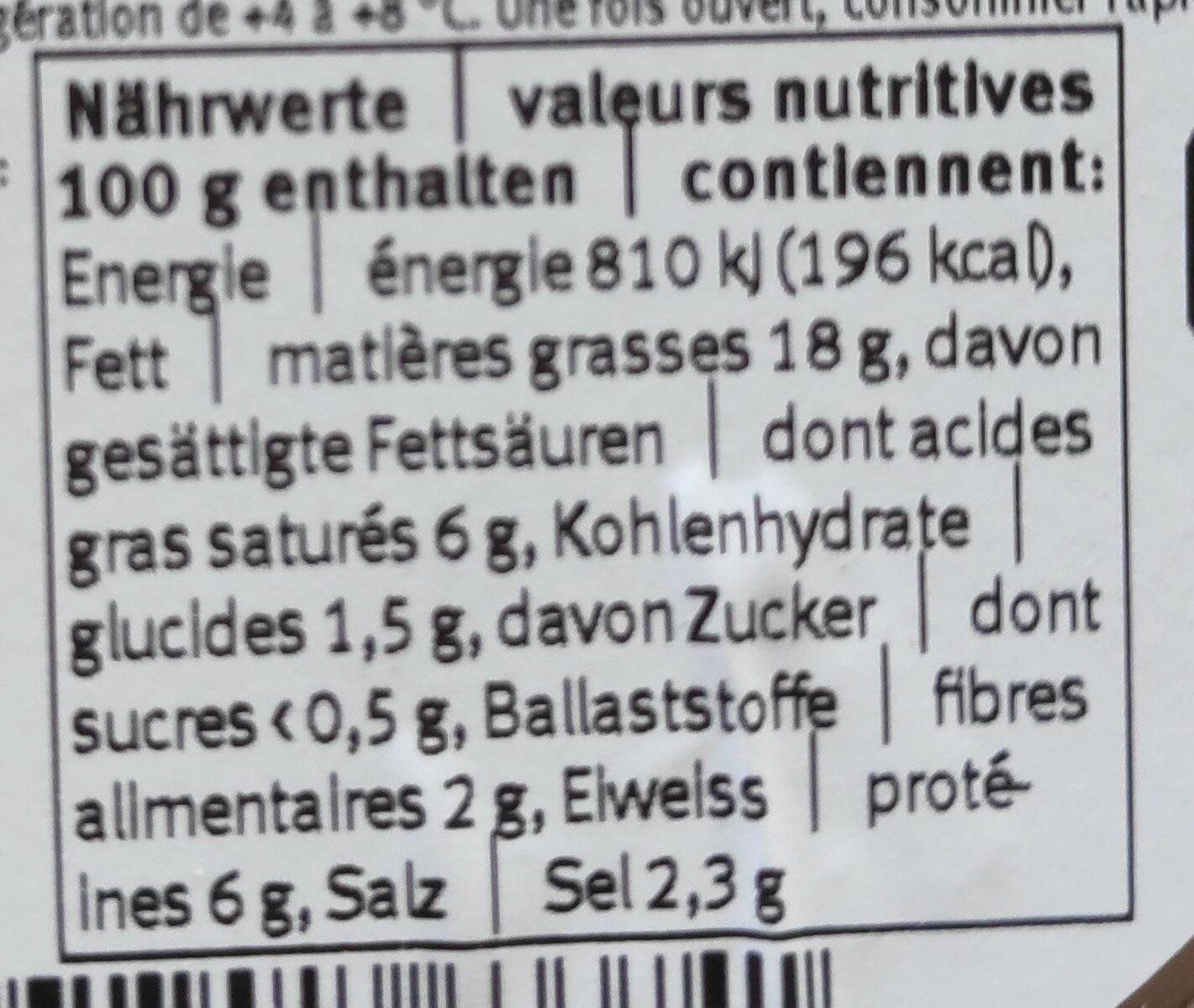 Olives vertes  dénoyautées avec fromage à pâte molle et ail - Voedingswaarden - fr