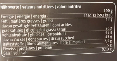 Coupes de chocolats belges - Nutrition facts