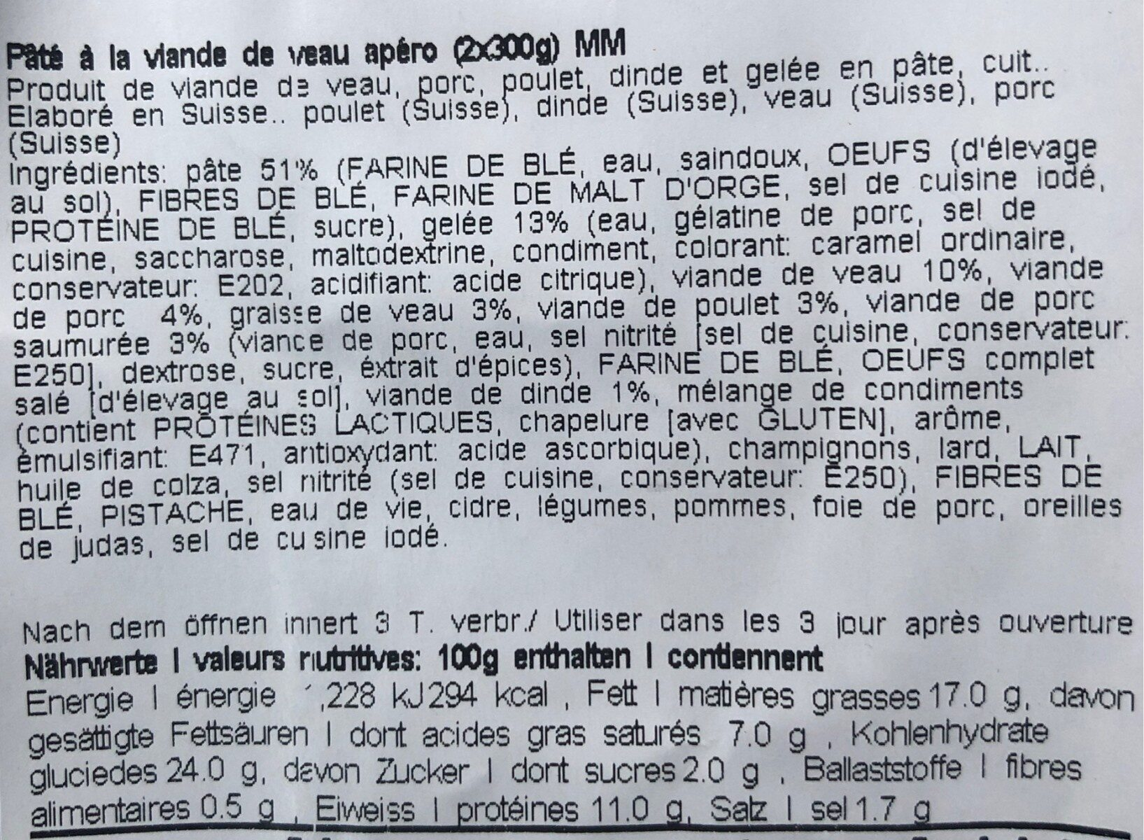 Pastete - Nutrition facts