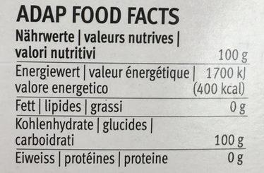 Hagelzucker - Nährwertangaben - fr
