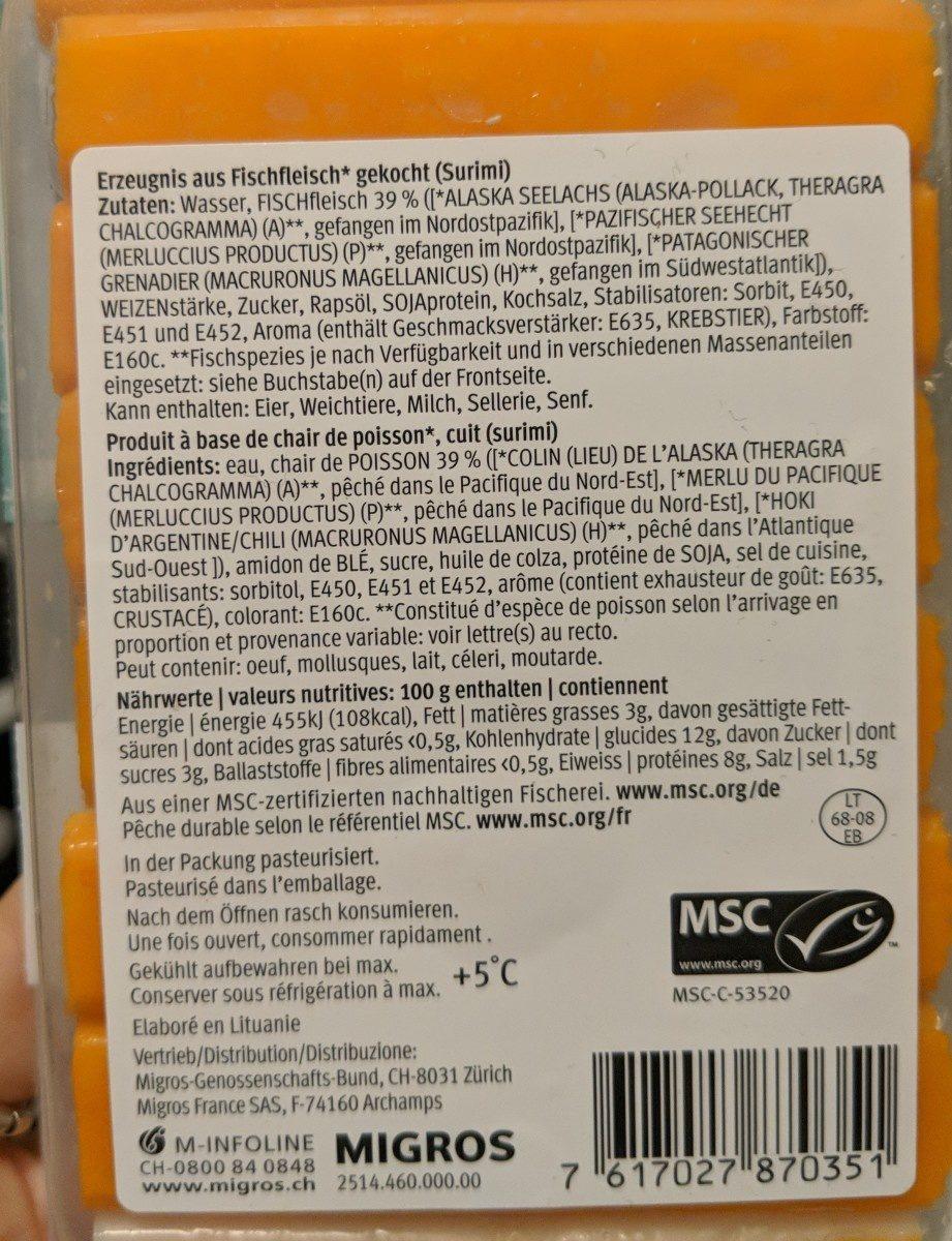 14 bâtonnets de surimi - Ingrediënten - fr