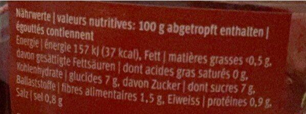 Betteraves rouges en tranches - Voedingswaarden - fr
