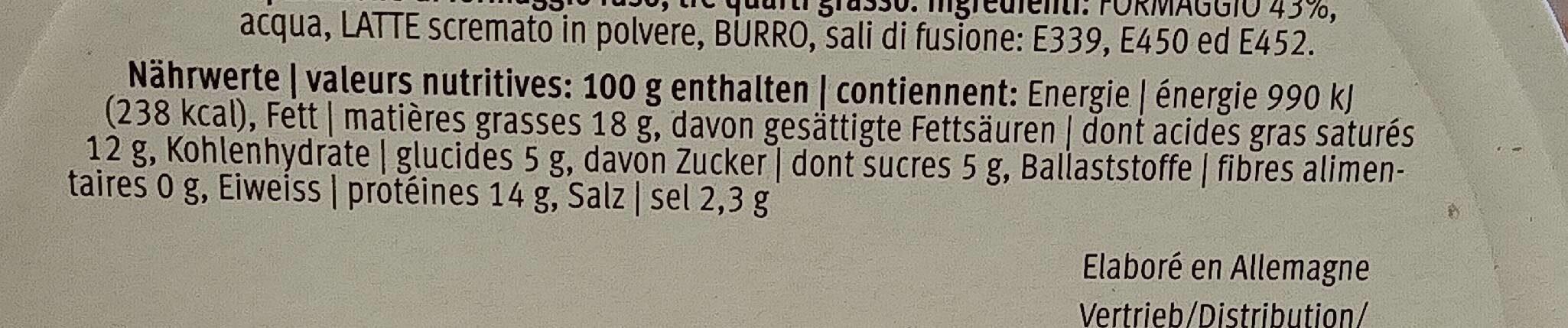 Préparation de fromage fondu - Nährwertangaben - fr