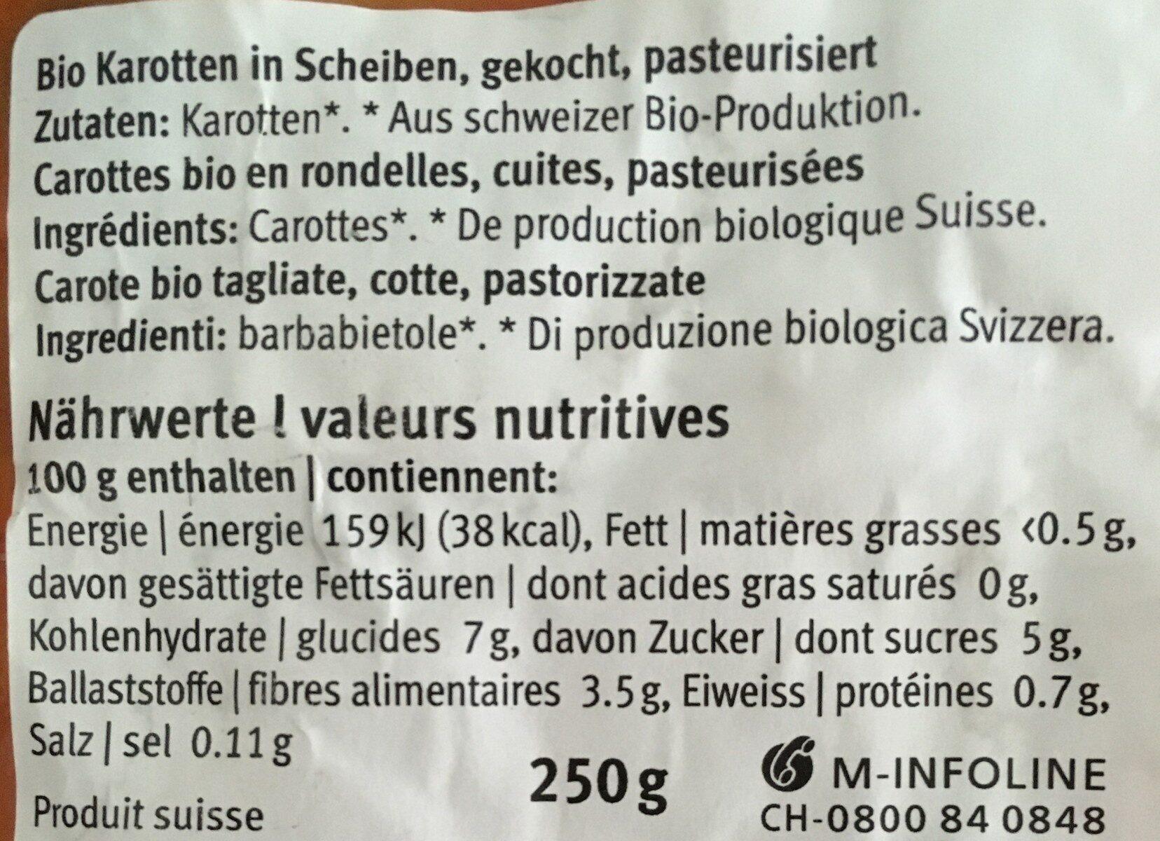 Carottes rondelles - Nutrition facts