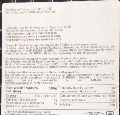 Steaks hachés de boeuf épicés - Valori nutrizionali - fr