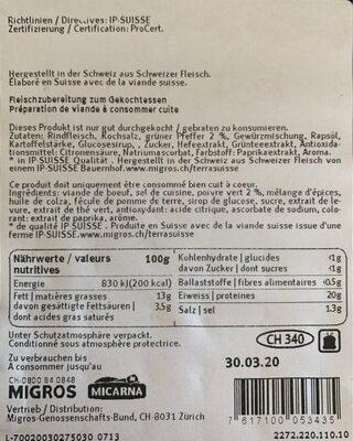 "Hamburger de boeuf ""Poivre vert"" - Valori nutrizionali - fr"