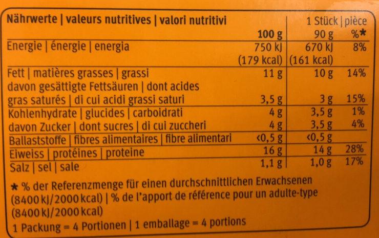 Pouletburger - Informations nutritionnelles - fr