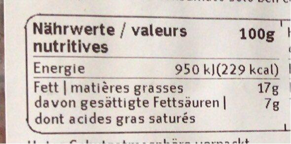 Steack haché - Nutrition facts - fr