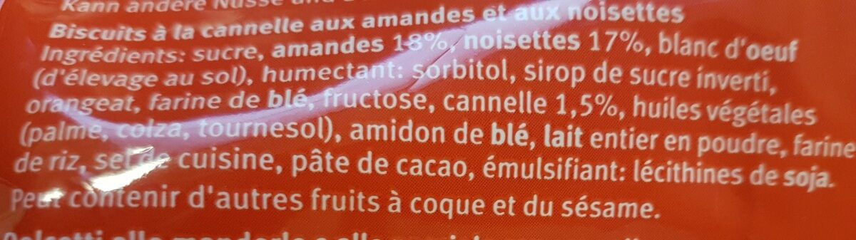 Étoiles à la cannelle - Ingredients