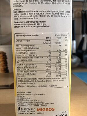 Rusk original - Informations nutritionnelles - fr