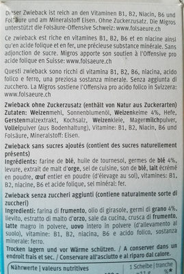 Fitness Zwieback - Ingredients