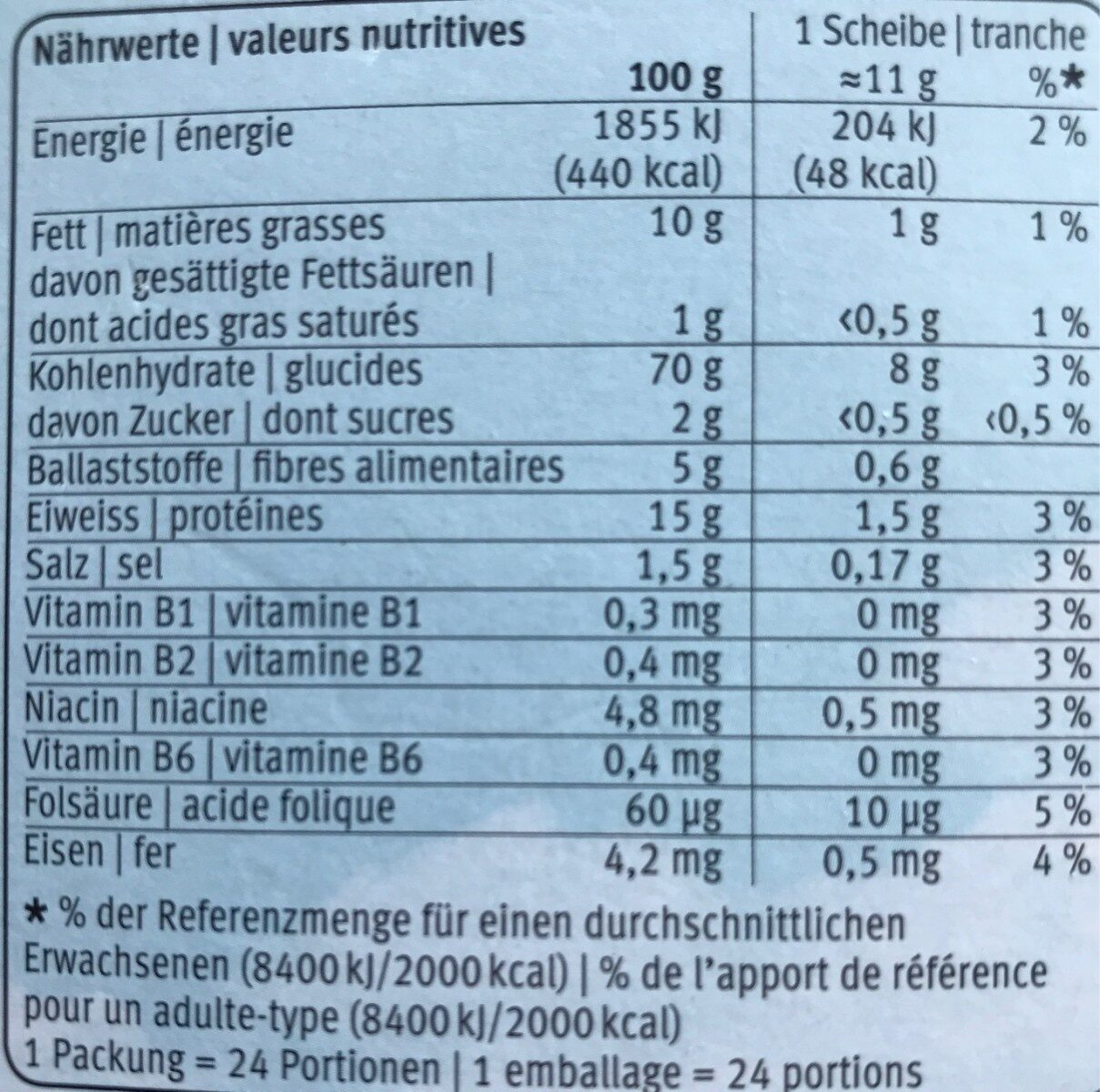 Fitness Zwieback - Nutrition facts - fr