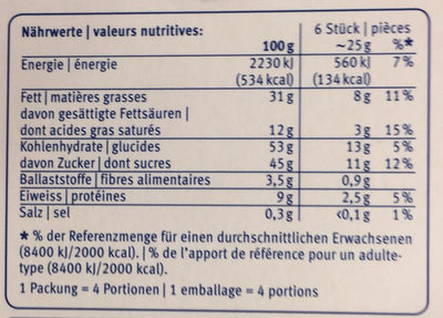 Rocher Biscuits Au Chocolat Suisse - Nutrition facts