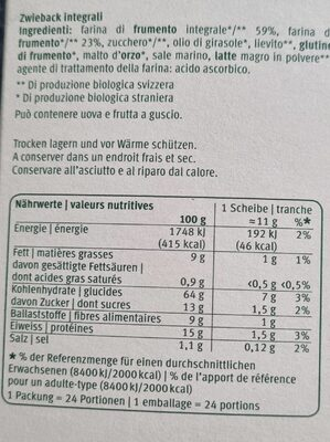 Zwieback complets - Informations nutritionnelles - fr