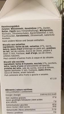 Bâtonnets aux noisettes - Ingrédients - fr