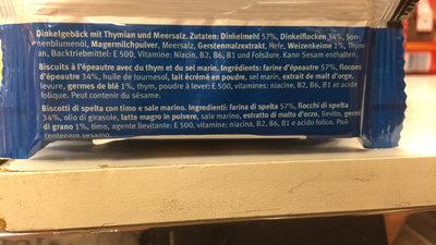 Biscuits Blévita Thym-sel marin. - Ingrédients