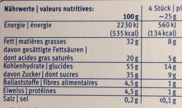 Choc Midor Noir - Nutrition facts - fr