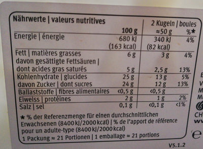 Vanille - Nutrition facts - fr