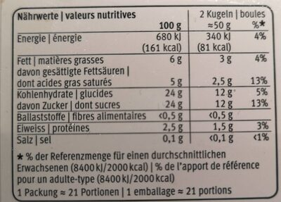 Glace vanille fraise - Nutrition facts