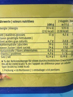 Crème d'Or - Valori nutrizionali - fr