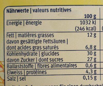 Crema catalana - Nutrition facts