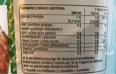 Cola zero - Valori nutrizionali - fr