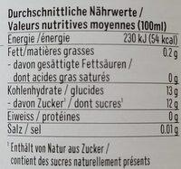 Biotta Airelles rouges Plus - Valori nutrizionali - fr